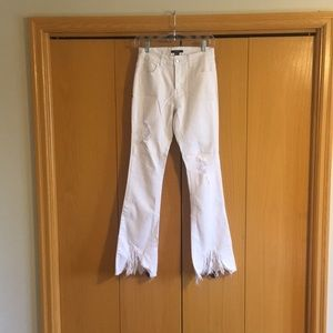 Forever 21 Distressed White Bell Bottoms
